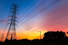 Sunset  of high voltage Royalty Free Stock Photography
