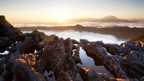 Sunset on Piton des Neiges, Reunion Island royalty free stock images
