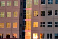 Sunset Highrise Windows Royalty Free Stock Photo