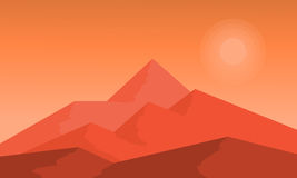 At sunset hight mountain landscape vector. Flat illustration Royalty Free Stock Images