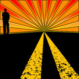 Sunset Highway. Graphic design of a road with a silhouette of a man on the side with red and orange sun rays blazing out of the horizon and bright yellow lane Royalty Free Stock Images