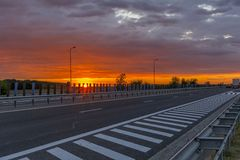 Sunset On The Highway. Stock Images