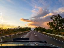 Sunset on the highway Royalty Free Stock Images