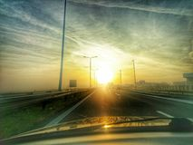Sunset on highway HDR Royalty Free Stock Images