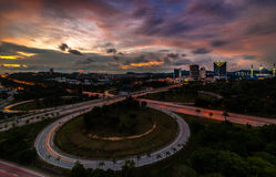 Sunset at highway. This junction near shah alam, selangor malaysia stock photos
