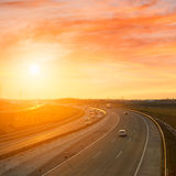 Sunset On The Highway Royalty Free Stock Image
