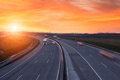 Sunset on the highway near Budapest Royalty Free Stock Image