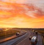 Sunset on the highway near Budapest Stock Image