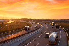 Sunset on the highway near Budapest Stock Images