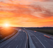 Sunset on the highway near Budapest Royalty Free Stock Photo