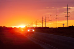Sunset highway traffic Hatteras Island OBX NC US Royalty Free Stock Photography