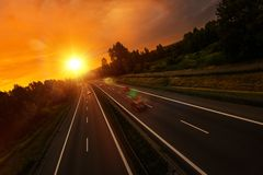 Sunset Highway Traffic Royalty Free Stock Images