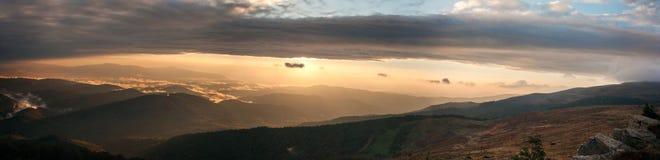 Sunset hiils. Beautiful sunset after rain at carpatian mountais Royalty Free Stock Images