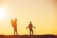 Sunset Hikers Royalty Free Stock Photography