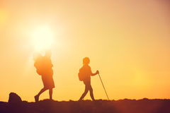 Sunset Hikers Stock Photography