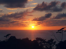 Sunset from the hill. Sunset at Punta Banco beach from the hill, Costa Rica, Central America Royalty Free Stock Photography