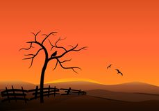 Sunset on the hills, cdr vector royalty free stock photos