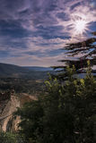 Sunset on the hills of Provence and an old village Royalty Free Stock Photography