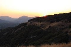 Sunset Hills. Sun going down behind Californian hills Stock Photos