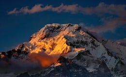 Sunset in Himalaya. Annapurna South stock images