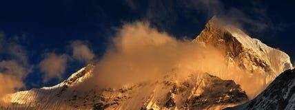 Sunset in Himalaya. Machhapuchhre mountain in Nepal (Fishtail stock image