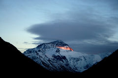 Sunset Himalaya Mount Everest. Sunset Mount Everest, North face, view from Tibetan base camp Royalty Free Stock Image