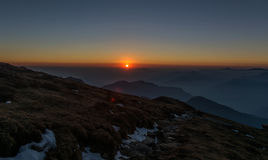 Sunset at Himalayas Royalty Free Stock Photos