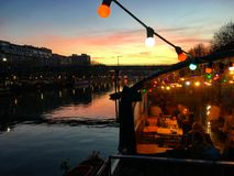 Sunset in a hipster bar Royalty Free Stock Images