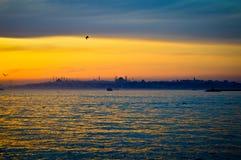Sunset on the historical peninsula of Istanbul. Blue Mosque, Hagia Sophia, Topkapi Palace royalty free stock photo