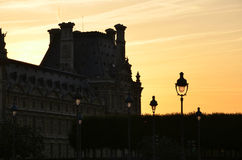 Sunset in historical ward. Old street in the evening Royalty Free Stock Photography
