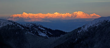 Sunset hitting mountain chine. Charming mountain chine during sunset in High Tatry, Slovakia Stock Images