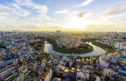 Sunset in Ho Chi Minh city Stock Photo