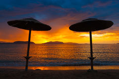 Sunset on holiday resort Royalty Free Stock Photography