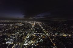 Sunset and Hollywood Blvds Los Angeles Night Aerial Stock Photography