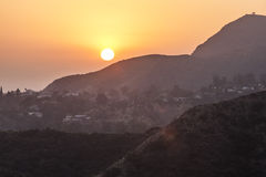 Sunset in hollywood mountains Royalty Free Stock Photos
