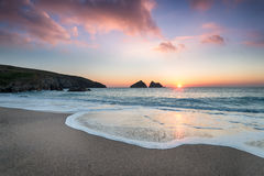 Sunset at Holywell Bay Royalty Free Stock Photos