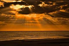 Sunset on Honeymoon Island. Florida royalty free stock photo