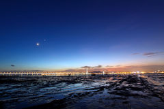 Sunset in Hong Kong. Beautiful sunset along seashore in Hong Kong under magic hour Royalty Free Stock Photography