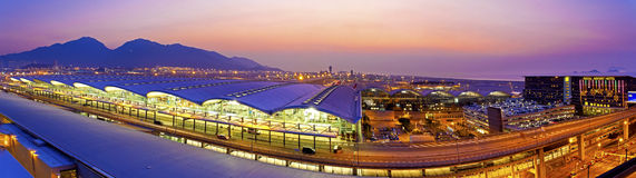 Sunset at Hong Kong airport Stock Images