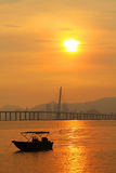 Sunset in Hong Kong along the coast Stock Images