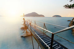 Sunset in hong kong Bathing pavilion Stock Photos
