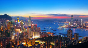 Sunset in hong kong city Stock Photography