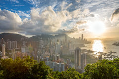 Sunset in hong kong city Skyline Royalty Free Stock Photo