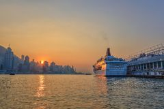 Sunset - Hong Kong cityscape Royalty Free Stock Image