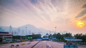 Sunset hong kong construction bay and traffic panorama 4k time lapse china. China sunset hong kong city construction bay and traffic highway panorama 4k time stock footage