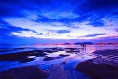 Sunset in Hong Kong at dusk Royalty Free Stock Photo