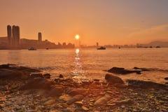 Sunset in Hong Kong fishing valley Royalty Free Stock Image