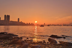 Sunset in Hong Kong fishing valley Royalty Free Stock Photography