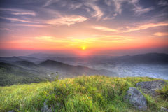 Sunset at Hong Kong at mountains, HDR image. Royalty Free Stock Photo