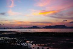 Sunset in Hong Kong over the sea. Beautiful sunset along seashore in Hong Kong under magic hour Royalty Free Stock Photo